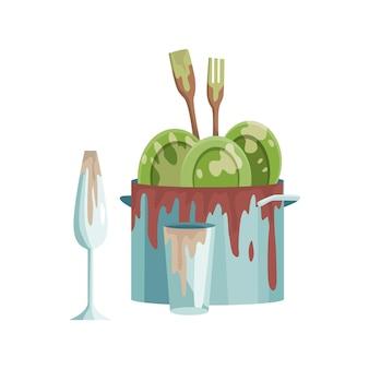 汚れた皿皿とカップの鍋に脂肪の染みが残っています。ウェブデザインのための汚れた台所用品と食器のベクトルフラットセットのスタック。家庭用品と台所用品のコンセプト。