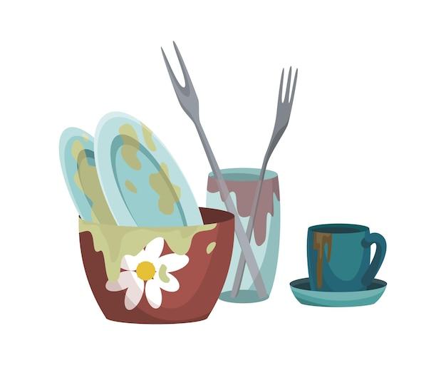 지방 얼룩이 남아 있는 더러운 접시와 컵 냄비