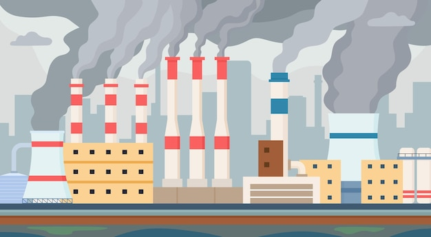 Грязный завод. воздух и вода загрязнены промышленным смогом. дымоход фабрики токсичным дымом загрязняет окружающую среду. векторный концепт загрязнения. производственные выбросы, химическое производство