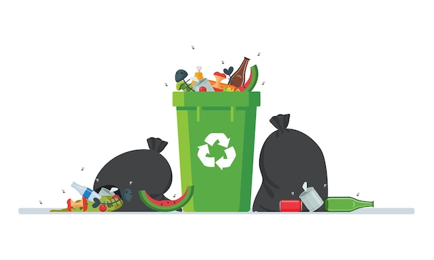 Грязный мусор вокруг мусорного ведра изолированы