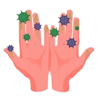 汚れた手のやしとそれらにしがみついているウイルスcovidイラスト。
