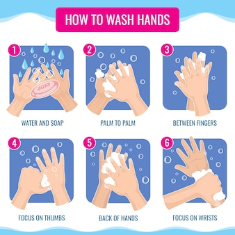 Dirty hands washing properly medical hygiene