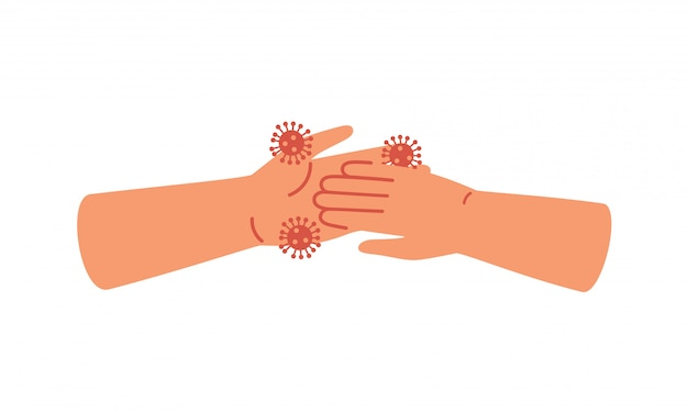 Dirty human hands pick up virus. concept of coronavirus epidemic and spread viral infectious disease