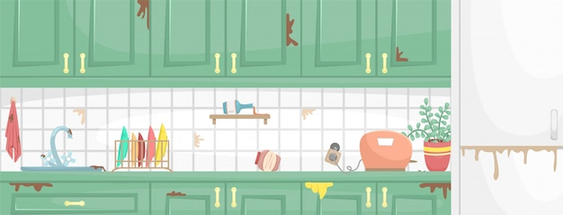 Dirty kitchen interior with wooden cabinets. dirty sink and dish, broken socket. flat illustration.