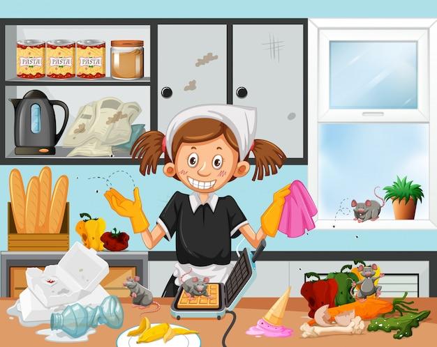 Грязная сцена кухни с экономкой