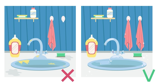 Dirty kitchen sink and clean sink. illustration before and after. housework.