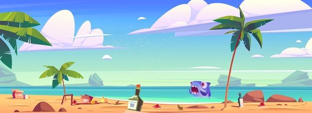 Spiaggia sporca dell'oceano con spazzatura e squalo spaventato in acqua