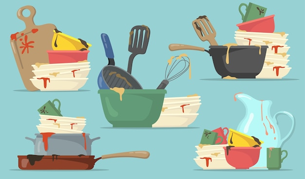 웹 디자인을위한 더러운 접시와 컵 플랫 세트. 격리 된 벡터 일러스트 컬렉션을 세척을위한 만화 부엌 빈 요리. 가정 및 주방 개념