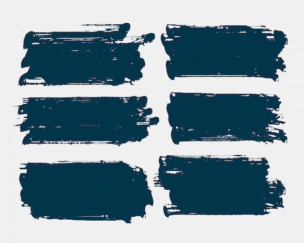 Dirty rectangle shape grunge brush stroke set