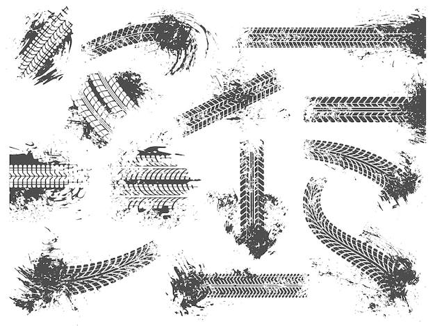 Грязные следы шин. гранжевый гоночный трек, рисунок протектора колесных шин и набор текстур для отпечатков грязных колес