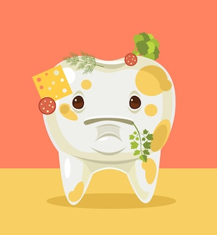 Dirty tooth character with food cartoon illustration