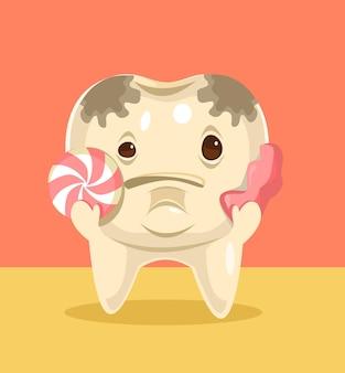 食べ物フラット漫画イラストと汚れた歯のキャラクター