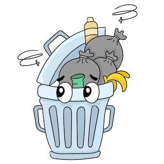 냄새나는 쓰레기로 가득 찬 더러운 쓰레기통. 만화 삽화 스티커 이모티콘