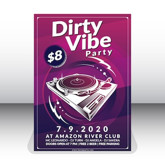 Dirty vibe party poster template