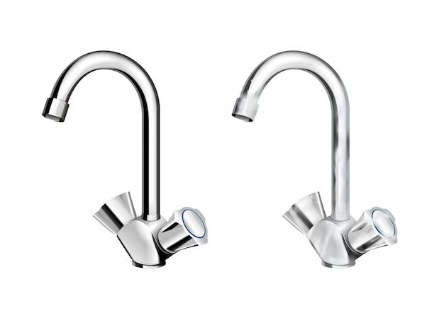 Грязная вода стальные хромированные смесители с реалистичным набором смесителей на белом изолированном