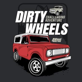 Dirty wheels, poster of 4wd advanture car