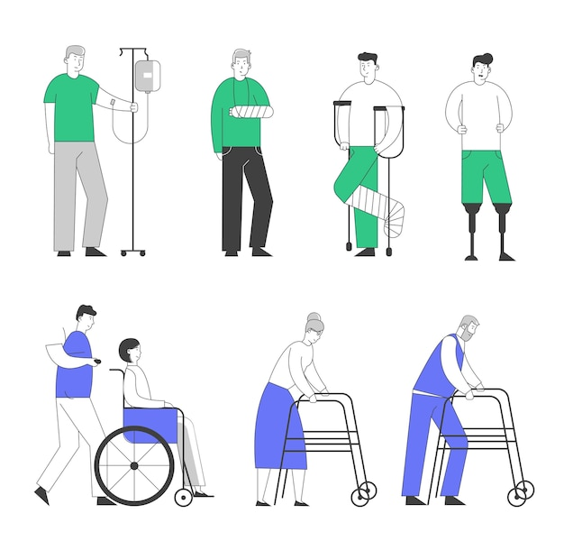 Disability big set of old and young disabled people male and female characters using wheelchair, crutches.