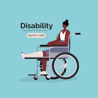 Disability black woman cartoon with leg cast on wheelchair of inclusion diversity and health care theme.