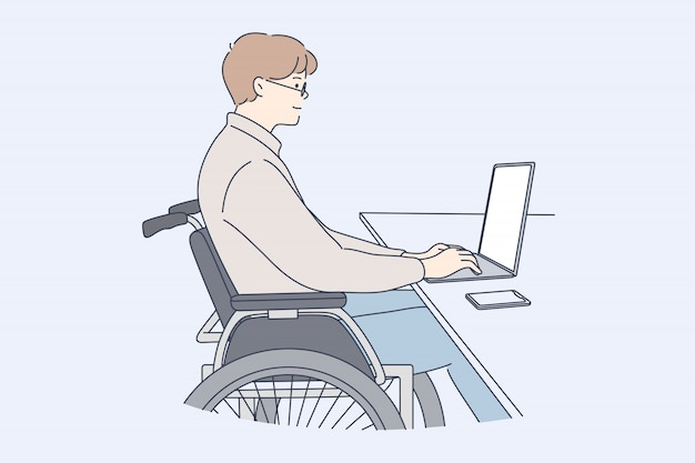 Disability, business, freelance, work, online concept