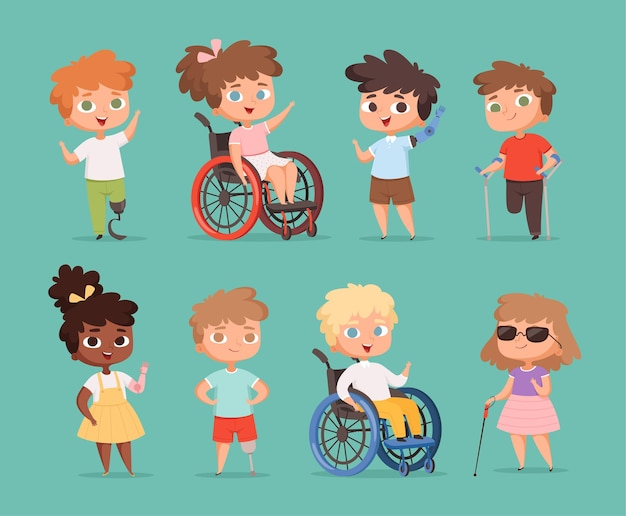 Disability children. kids sitting in wheelchairs handicapped little persons in school  cartoon illustrations.