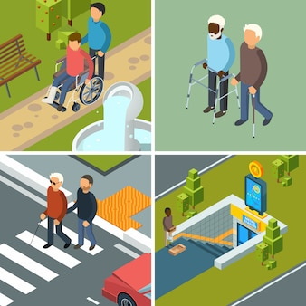 Disability in city. urban healthcare invalids wheelchairs walkers crutches equipment and helpers persons concept isometric pictures