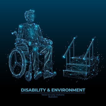 Disability and environment low poly wireframe banner template. accessibility social media post polygonal design. handicapped person in wheelchair 3d mesh art with connected dots