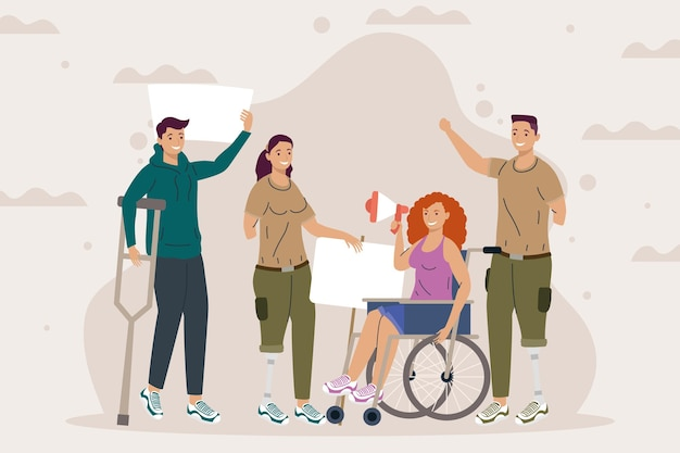 Disability four characters protesting campaign Premium Vector