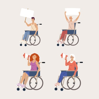 Disability four persons protesting campaign