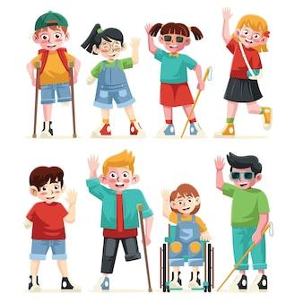 異なるスタイルのフラットカラーの障害児キャラクターコレクション