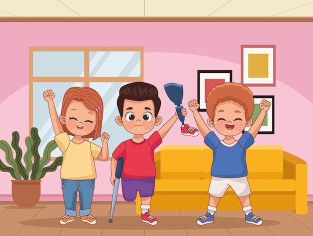 Disability kids in livingroom