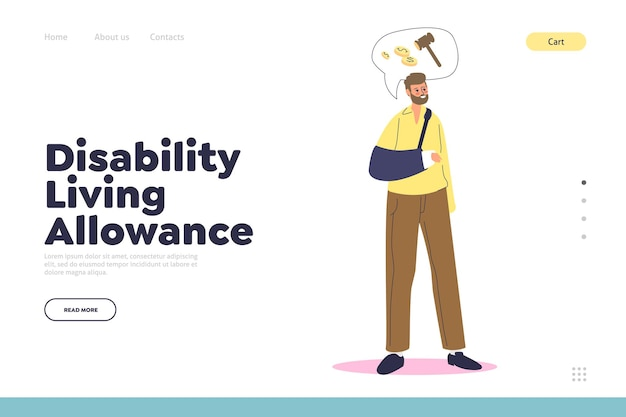 Disability living allowance landing page concept with man with broken arm in bandage looking for social payment. disabled male cartoon character needs rehabilitation money.