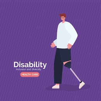Disability man cartoon with leg prosthesis of inclusion diversity and health care theme.