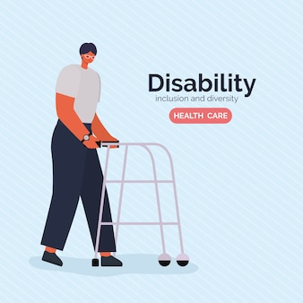 Disability man cartoon with walker of inclusion diversity and health care theme.