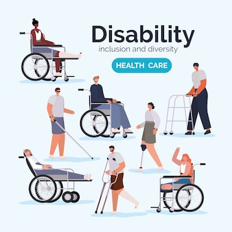 Disability people cartoons with wheelchair prosthesis and cast of inclusion diversity and health care theme.