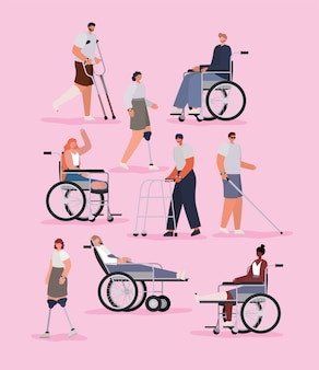 Disability people cartoons with wheelchair prosthesis and cast on pink background of inclusion diversity and health care theme.