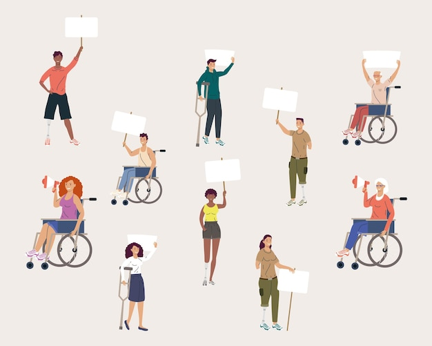 Disability ten persons protesting campaign