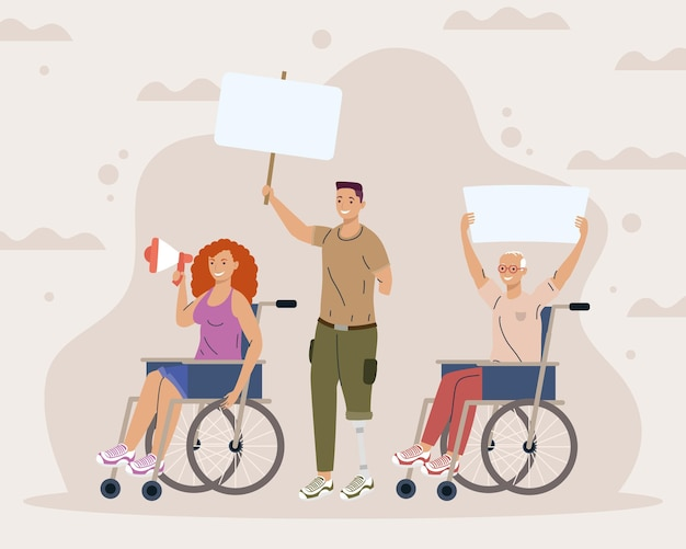 Disability three characters protesting campaign