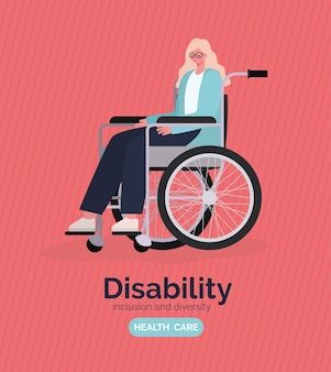 Disability woman cartoon on wheelchair of inclusion diversity and health care theme.