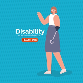 Disability woman cartoon with arm prosthesis of inclusion diversity and health care theme.