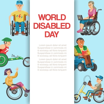 Disability  world day,  illustration. disabled people character in wheelchair banner, handicapped health invalid