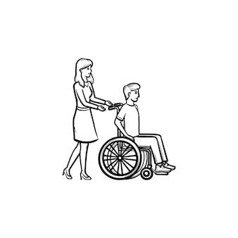 車椅子の人を無効にする手描きのアウトライン落書きアイコン