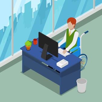 Инвалид в инвалидной коляске, работающих в офисе. инвалидность изометрические люди. векторная иллюстрация