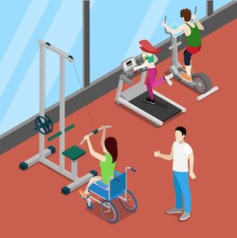 Отключить женщина на инвалидной коляске в тренажерном зале. инвалидность изометрические люди. векторная иллюстрация