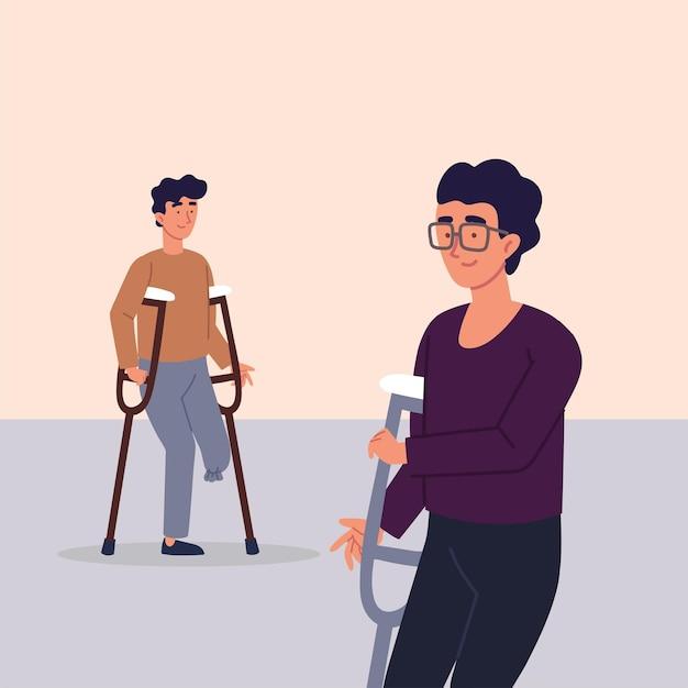 Мужчины-инвалиды с ампутированными конечностями с костылями Premium векторы