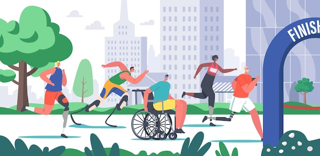 Disabled athlete characters run city marathon, sportsmen and sportswomen on wheelchair or bionic leg prosthesis jogging, young amputee men or women outdoors running. cartoon people vector illustration