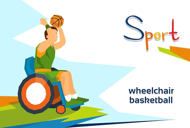 Disabled basketball player on wheelchair sport competition