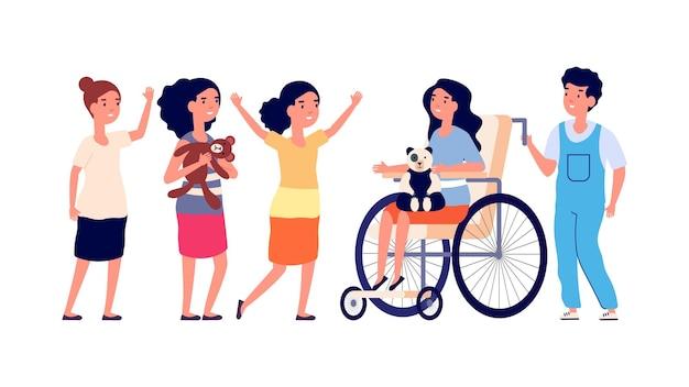 Ребенок-инвалид. девушка в инвалидной коляске, деятельность группы детей. изолированные дружелюбный мальчик девочка, играя вместе. социальная адаптация детей с ограниченными возможностями векторные иллюстрации. персонажи-инвалиды