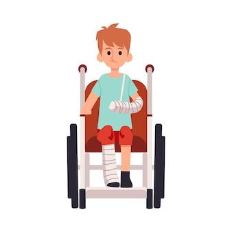Ребенок-инвалид с ранением конечности в инвалидной коляске