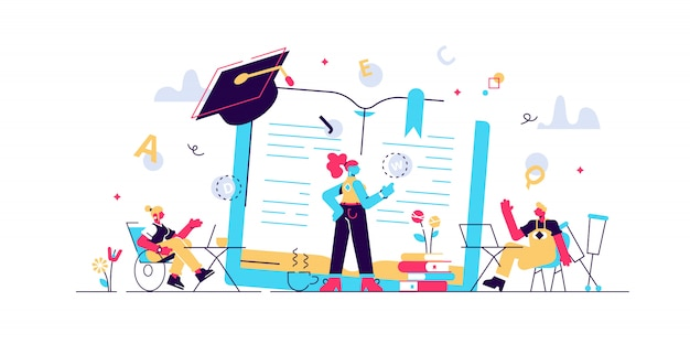 Disabled children studying in school. learning program. inclusive education, social and communicative competence, inclusive environment concept. bright vibrant violet isolated illustration