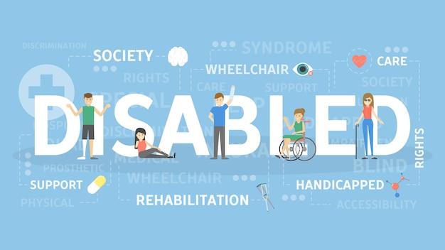 장애인 된 개념 그림입니다. 사회와 건강의 아이디어.